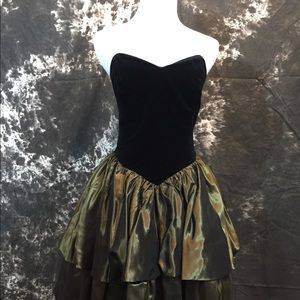 VTG Laura Ashley Black Velvet Gold Taffeta Dress